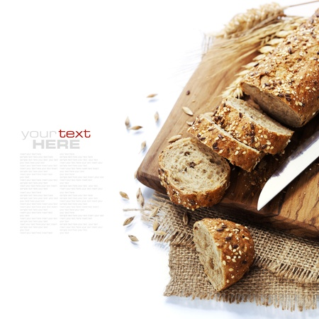 Freshly baked  bread on white background. With easy removable sample text