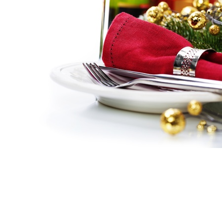 candlelight: Christmas table place setting with christmas decorations