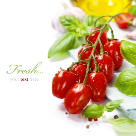 cooking oil: fresh tomatoes  and basil on white  background (with easy removable sample text)