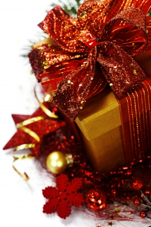 christmas cover: Christmas composition with gift box and decorations