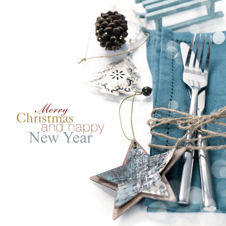 festive food: Christmas table place setting with christmas decorations (with easy removable sample text) Stock Photo