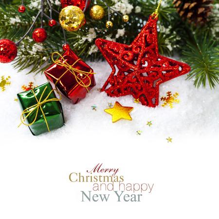 赤い星と明るいクリスマス組成 写真素材