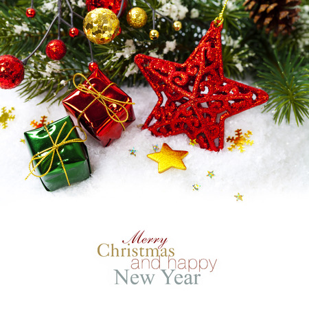 happy christmas: Bright christmas composition with red star Stock Photo