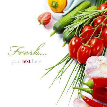 verse groenten op witte achtergrond (met eenvoudig verwisselbare voorbeeld tekst)