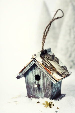 Bright christmas composition with small birdhouse photo