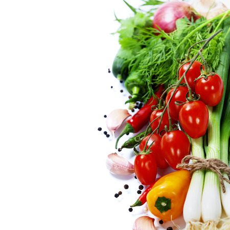 fresh vegetables - healthy or vegetarian eating concept Stock Photo