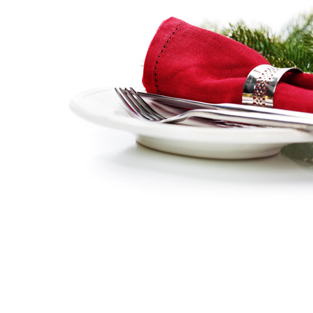 to place: Christmas table place setting with christmas decorations