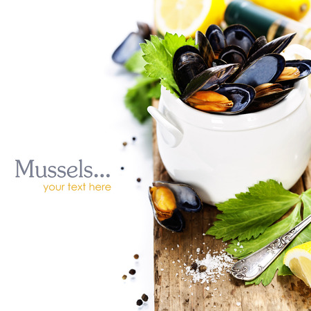 Mussels cooked with white wine sauce in a white pot (with easy removable sample text) photo