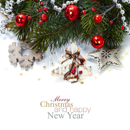 Bright christmas composition with wooden decorations (with easy removable sample text) Stock Photo