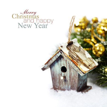 sample text: Bright christmas composition with small birdhouse (with easy removable sample text) Stock Photo
