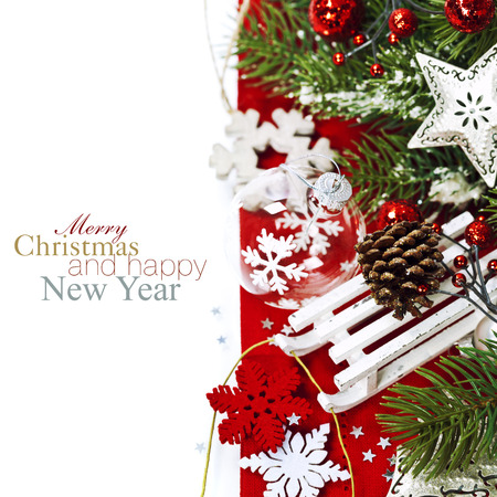 white card: Bright christmas composition with sledge (with easy removable sample text) Stock Photo