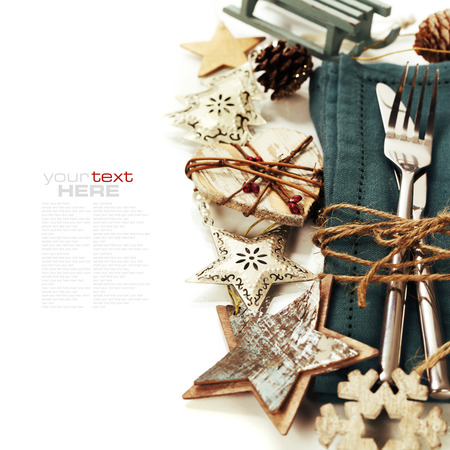 Christmas table place setting with christmas decorations (with easy removable sample text) Stock Photo