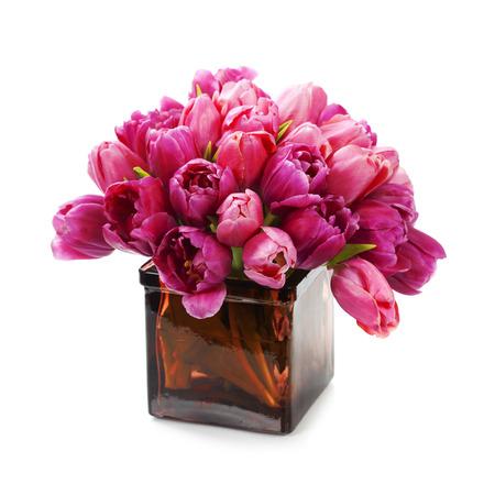 flower vase: Pink tulips on white background  Stock Photo