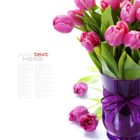 mother day: Pink tulips Valentines day over white (with easy removable text)