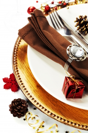 candle light dinner: Christmas table place setting with christmas decorations