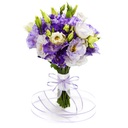 Beautiful eustoma flowers bouquet (wedding or romantic date\ concept )