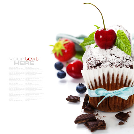 chocolate mint: chocolate cake with fresh berry. With easy removable sample text