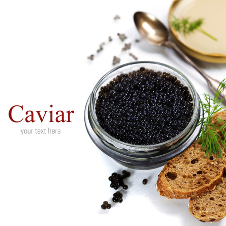 sturgeon: Black caviar on white background (with easy removable sample text) Stock Photo