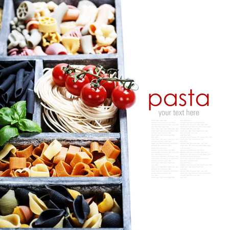 settling: Assorted pastas in wooden box (with easy removable sample text)