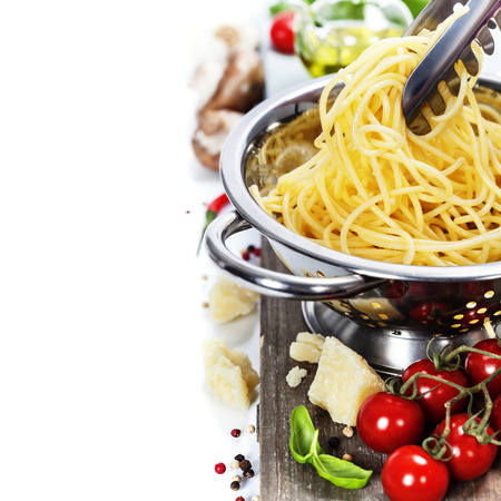 Freshly made spaghetti with italian ingredients