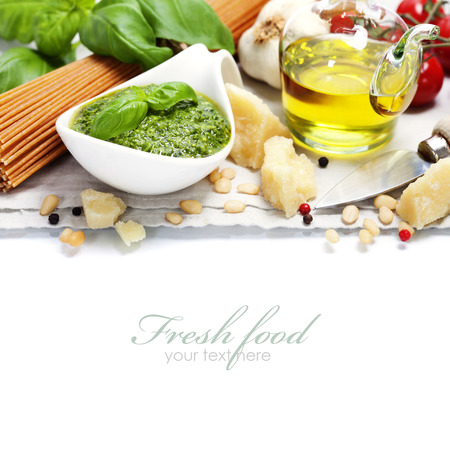 freshly: closeup of freshly made pesto  (with easy removable sample text) Stock Photo