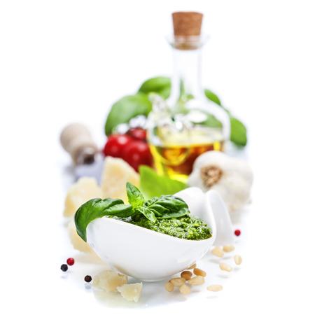 closeup of freshly made pesto  photo