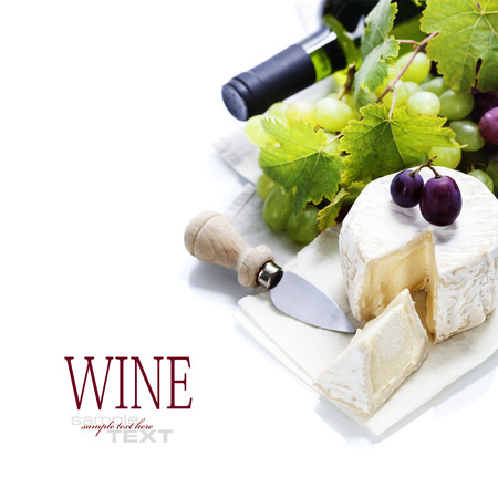 ricotta cheese: Wine, grape and cheese over white. With easy removable sample text Stock Photo