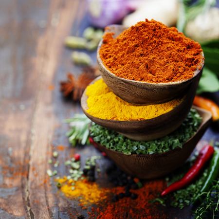 asian cook: Spices and herbs over Wood. Food and cuisine ingredients.