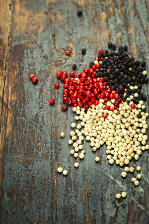 curry powder: pepper on wooden background Stock Photo