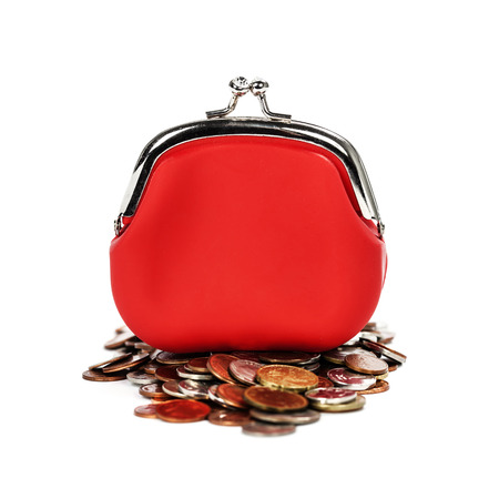 red purse: Red purse and coins  on white  Stock Photo