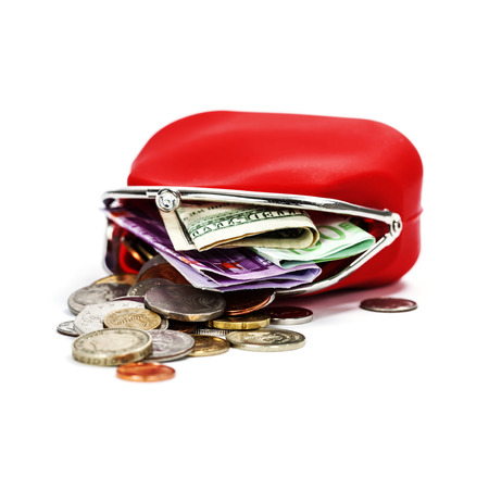 economise: Red purse with money on white  Stock Photo