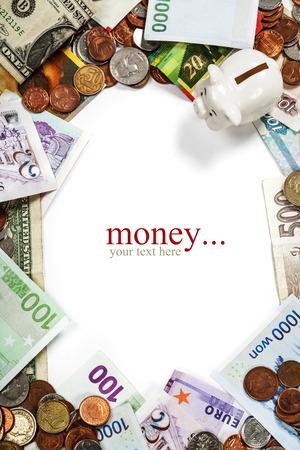 Monedas y billetes extranjeros marco. photo