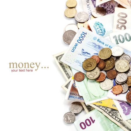 Monedas y billetes extranjeros. photo