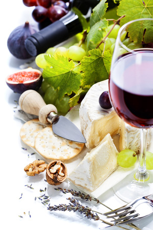 ricotta cheese: Wine, grape and cheese over white