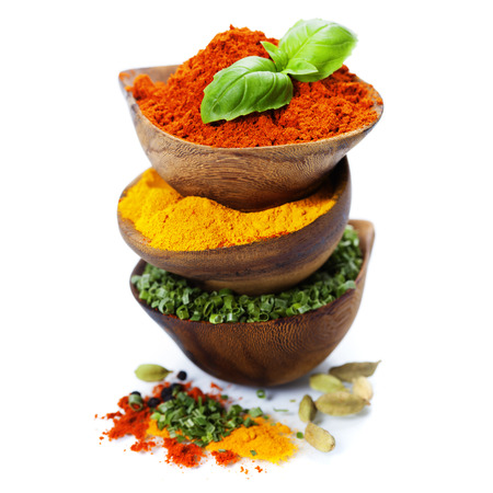 Spices and herbs over White. Food and cuisine ingredients. photo