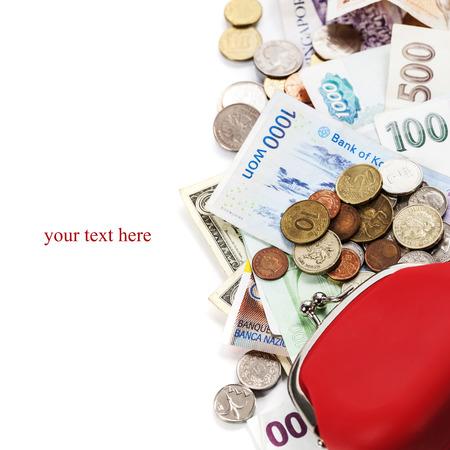 Monedas y billetes extranjeros. Fondo del dinero photo