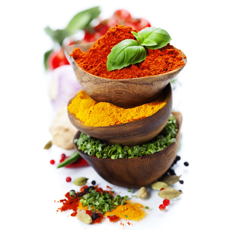 indian curry: Spices and herbs over White. Food and cuisine ingredients.