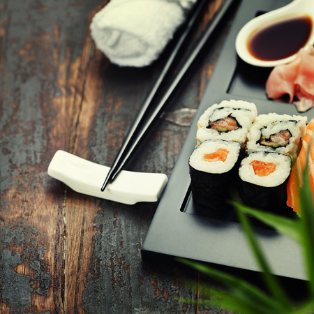chopstick: Sushi set served on a plate