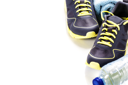 shoelace: Sport shoes, measuring type and water on white background Stock Photo