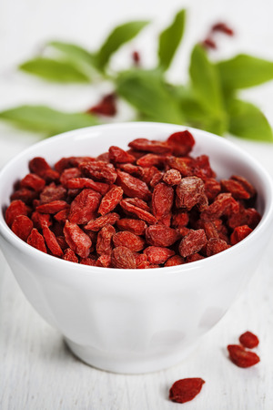 goji berry: white bowl with goji berries on the table Stock Photo