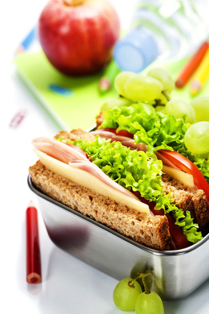 School lunch with a  ham sandwich, apple, grapes and textbooks  photo