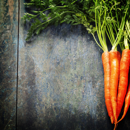 fresh carrots bunch on wood photo