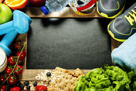 diet concept: Different tools for sport and diet food - sport, health and diet concept Stock Photo