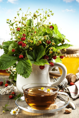 bouquet of wild strawberry with herbal tea and honey - bio food or health concept photo