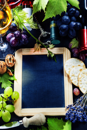 Food background with Wine and Grape. photo