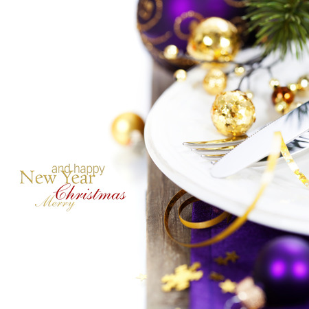 Christmas And New Year Holiday Table Setting-Holiday decoration photo