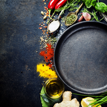 cooking recipe: Herbs and spices selection, close up Stock Photo