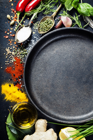 restaurant kitchen: Herbs and spices selection, close up Stock Photo