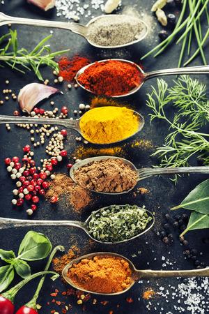 Herbs and spices selection, close up 스톡 콘텐츠