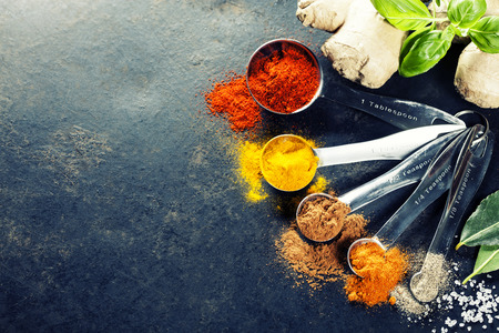 food ingredient: Herbs and spices selection, close up Stock Photo